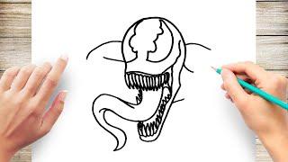 How to Draw Venom for Kids Step by Step
