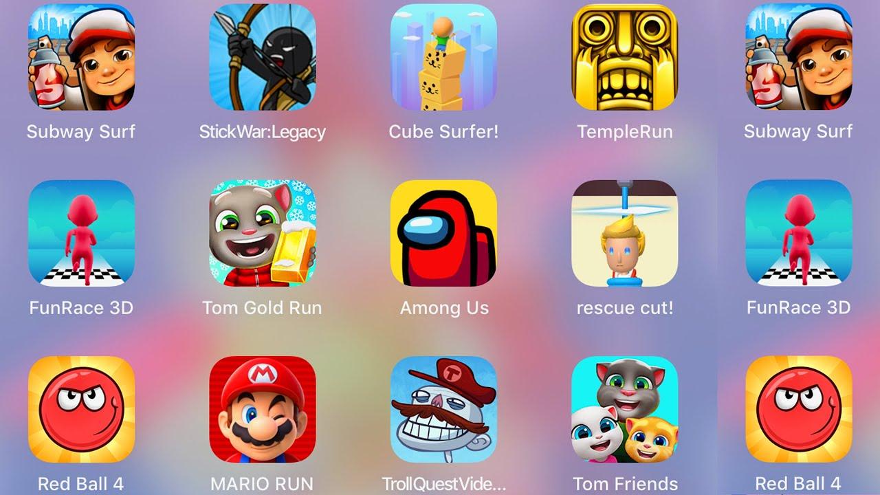 Troll Quest Video Games,StickWar,Subway Surf,Cube Surfer,Among Us,Tom Friends / Best 8 Games Of Ipad