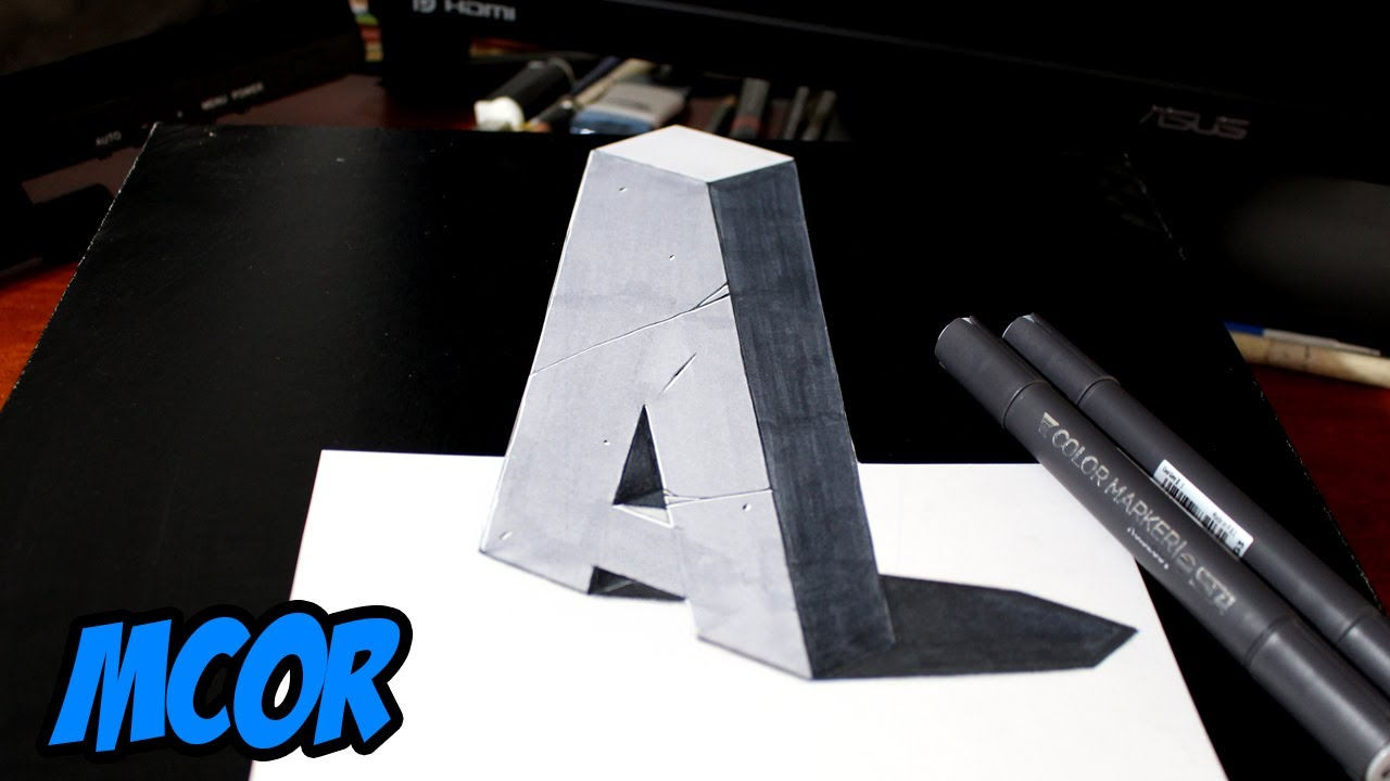 Como dibujar la letra a en 3d ilusion optica youtube for Escaleras 3d max