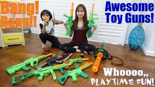 Toy Gun Collection! Pistols, Machine Guns, Gatling Gun and More! A Trip to a Firing Range thumbnail
