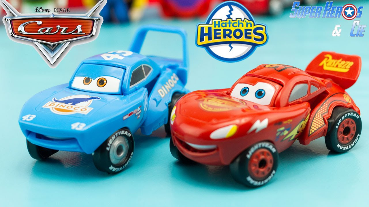 jouet disney cars hatch 39 n heroes oeuf transformable flash mcqueen king dinoco les bagnoles. Black Bedroom Furniture Sets. Home Design Ideas