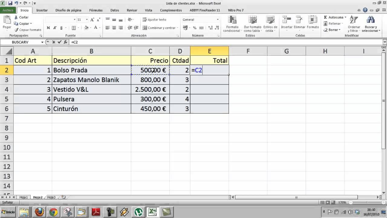 Formulas Excel Hoja de cálculo Informática Academia Usero Estepona ...