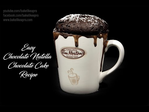 Easy Chocolate Nutella Chocolate Cake Recipe In a Coffee Cup