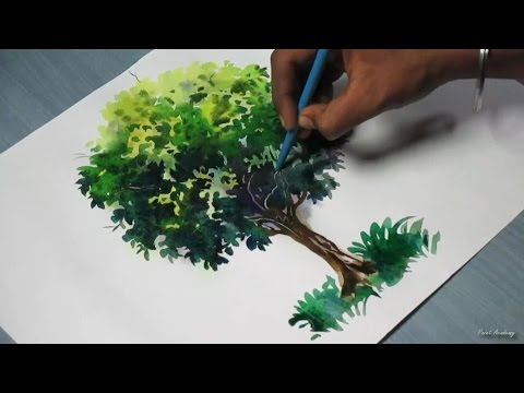 how to paint a tree with watercolor youtube. Black Bedroom Furniture Sets. Home Design Ideas
