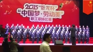 funny choir fail china police choir plunges 5 meters during singing competition tomonews
