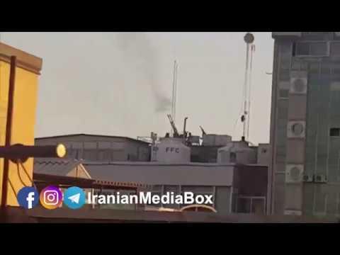 لحظه تیراندازی و شلیک ممتد ضدهوایی ارتش در محدوده خیابان انقلاب تهران به سوی یک کوادکوپتر