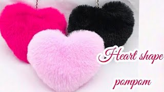 How to make heart shape pompom-heart gift for valentine's |handmade gift - cool and creative