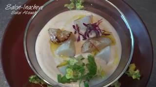 """""""料理"""" 蕪のポタージュと帆立貝のポワレ """"フランス料理 海鮮"""" スープの作り方 盛り付け"""