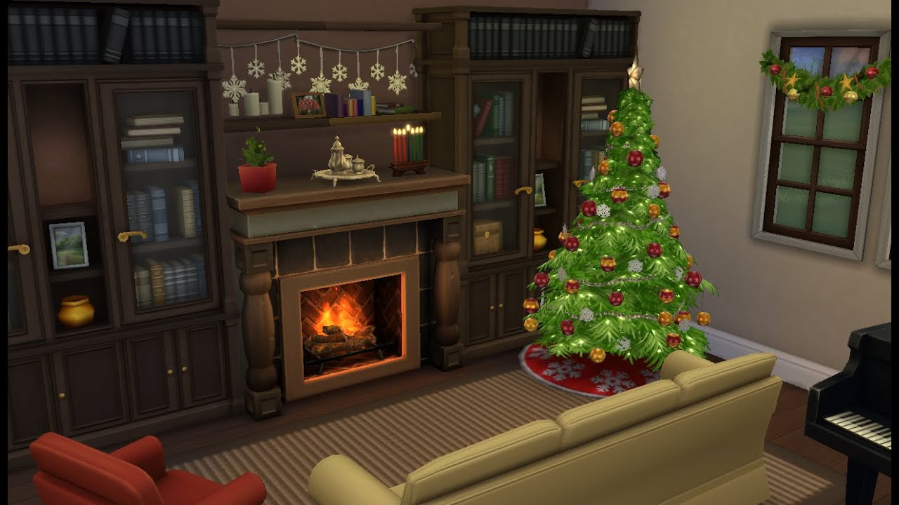 Sims 4 room design christmas living room youtube for Living room xmas ideas