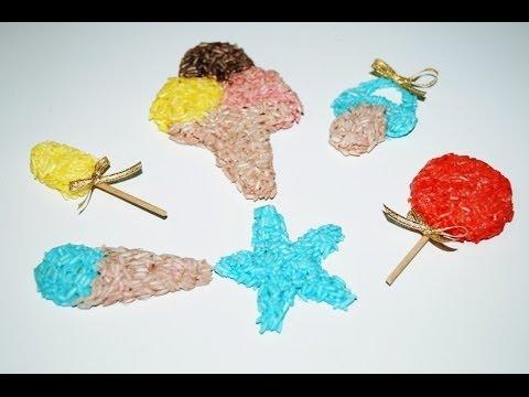 Figuras con arroz tintado youtube - Manualidades con papel pintado ...