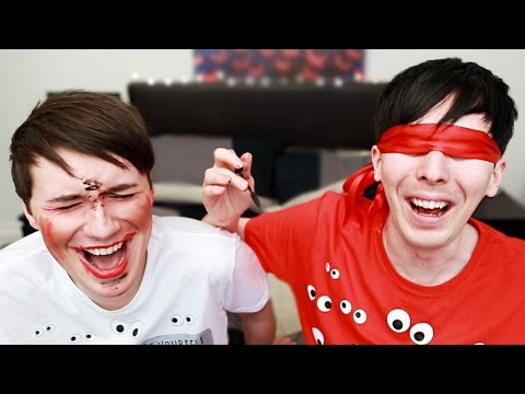 Thumbnail: DAN AND PHIL BLINDFOLDED MAKEUP CHALLENGE