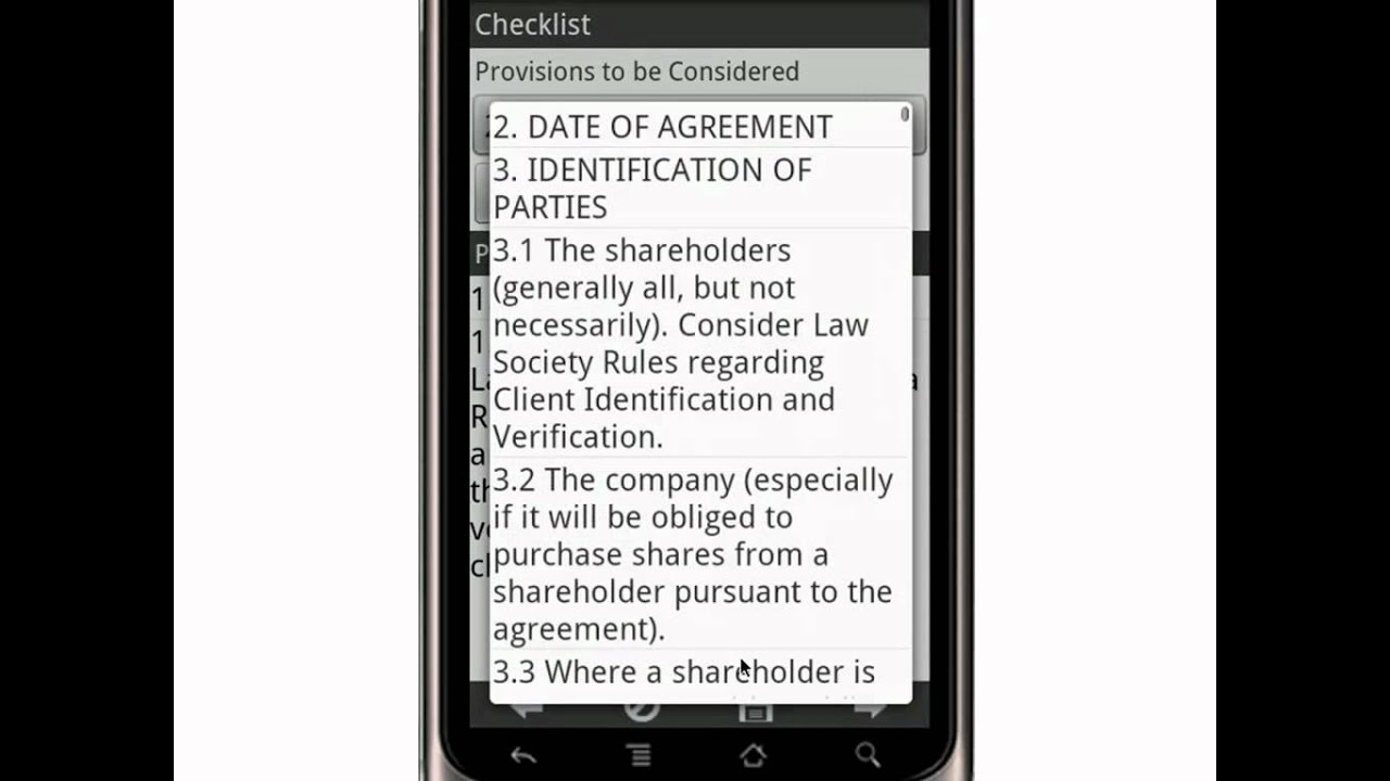 Canvas Shareholders Agreement Drafting Checklist Canada Mobile App