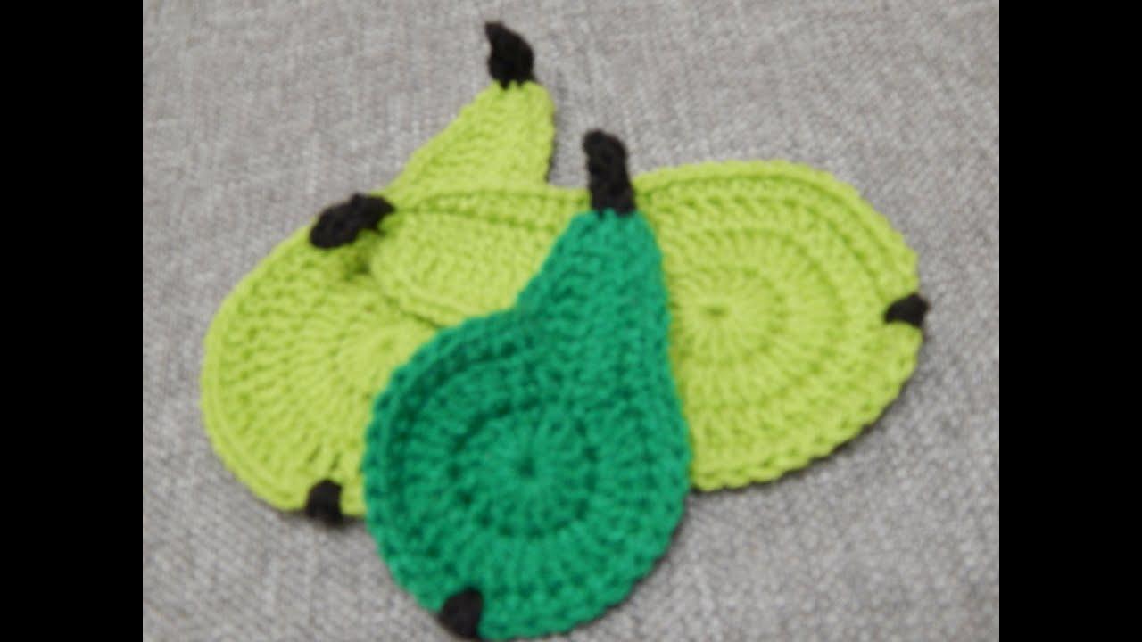 Peras para Posa Vasos Crochet - YouTube