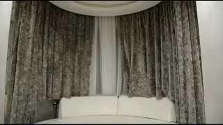 Электрокарниз в эркере спальни. Шторы для эркера.(Электрокарниз в эркере спальни. Пошив штор на заказ для спальни. Лучшие решения от компании АртДИС!, 2014-12-14T07:37:02.000Z)