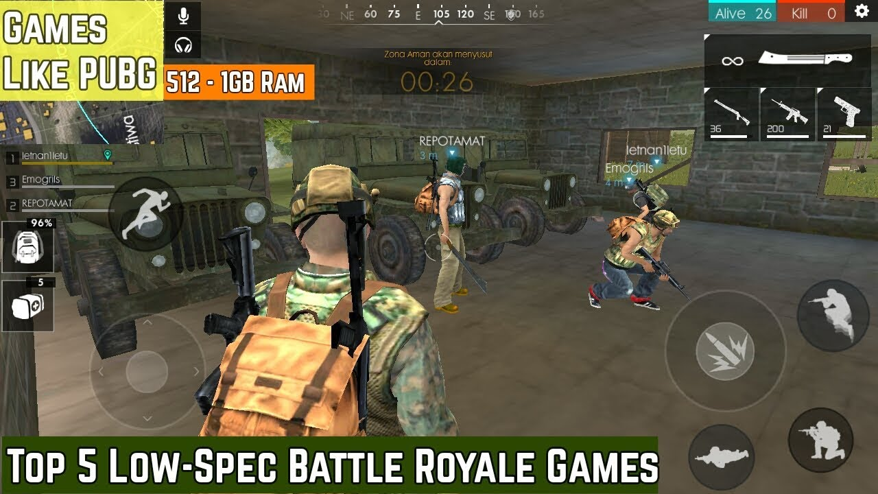 Top 5 Low Spec Battle Royale Games For Android Games Like Pubg