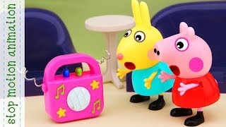 Rebecca and Peppa's dance. Peppa pig toys stop motion animation english episodes 2018