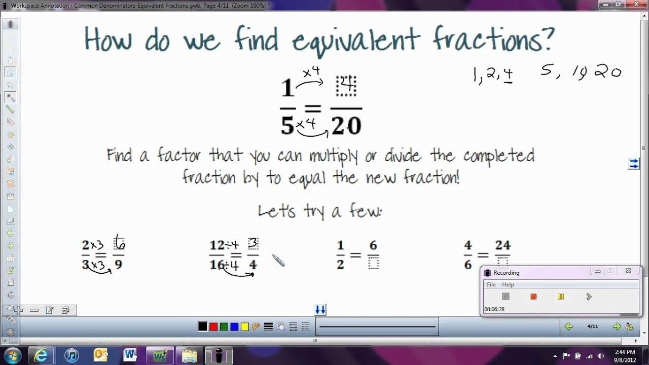worksheet How To Make Equivalent Fractions common denominators equivalent fractions youtube fractions