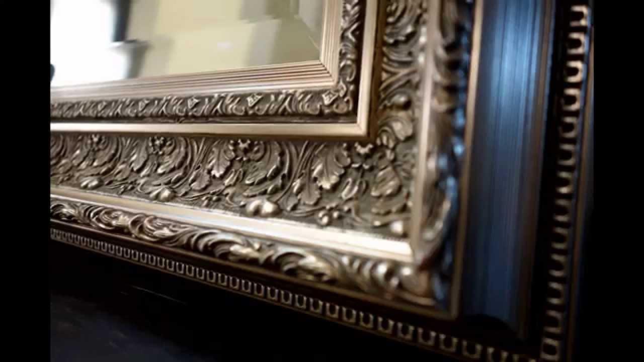 West Frames Elegance Ornate Embossed Champagne Silver Floor Mirror ...