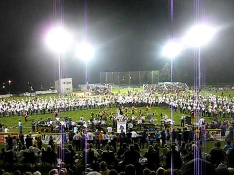 Rappahannock County High School Marching Band performing with JMU in Woodstock, VA