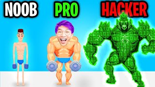 Can We Go NOOB vs PRO vs HACKER In TOUGH MAN APP!? (ALL LEVELS!)
