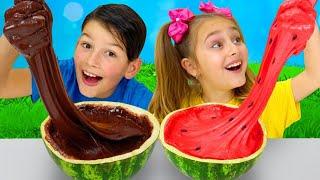 Sasha and Max make slime in a watermelon