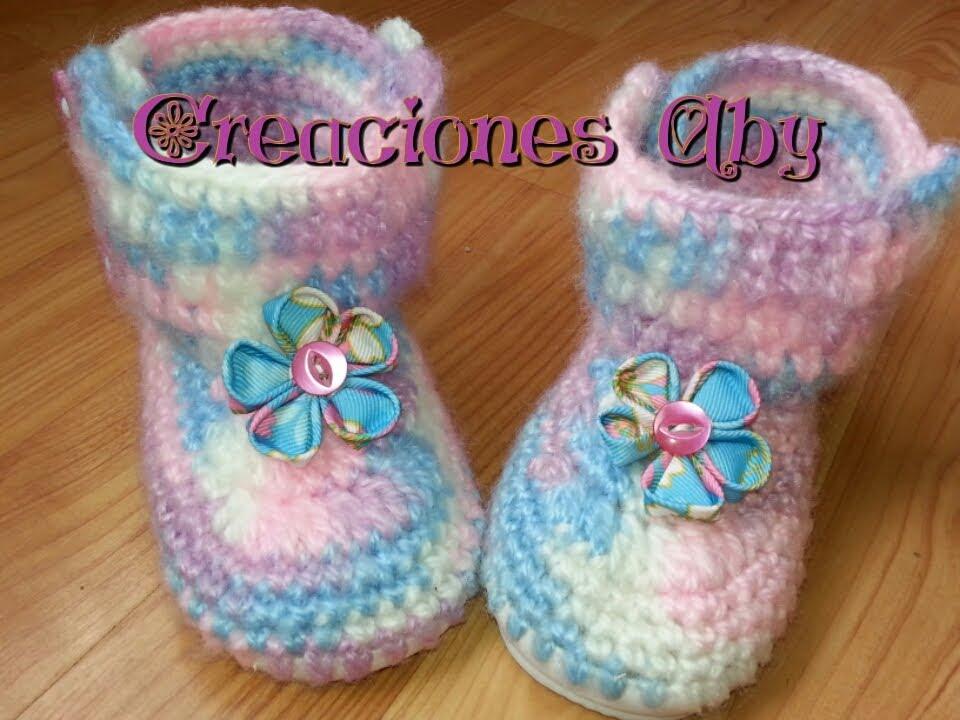 Botitas a Crochet para Niñas con Suela de Plastico - YouTube