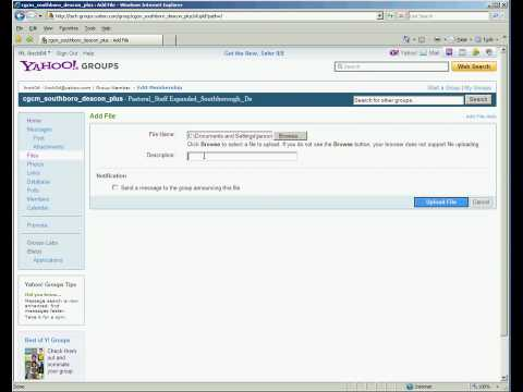 how to share files in yahoo group