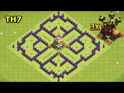 CLASH OF CLANS - Town hall 7 (TH7) Farming Base With 3 Air Defence