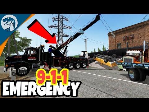 HUGE CRASH, TOW TRUCK CRANES, SEMI TRUCK WRECKED | Farming Simulator 17 Multiplayer Gameplay