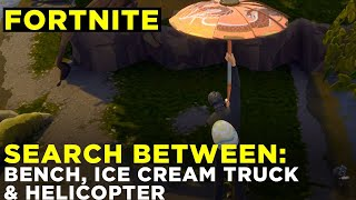 Search between a Bench, Ice Cream Truck, and a Helicopter — Fortnite Challenge Location Guide