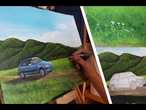 How to paint Acrylic Car in a land | SpeedArt |