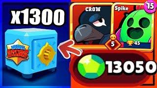 brawl stars pack opening 1200 13 000 gems x1300 brawl chests opening legendaire max
