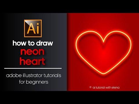 HOW TO DRAW A NEON HEART? AI TUTORIAL.КАК СОЗДАТЬ НЕОНОВОЕ СЕРДЦЕ В ADOBE ILLUSTRATOR.