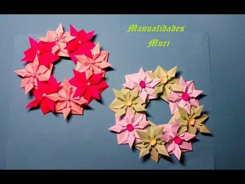 Manualidades corona de flores de papel para navidad muy - Manualidades navidad papel ...
