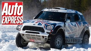 Mini all4 racing dakar car: off-road rally monster eats snow and ice in lapland