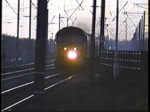 47 heads south at Thirsk on a parcels train. mid 80s.