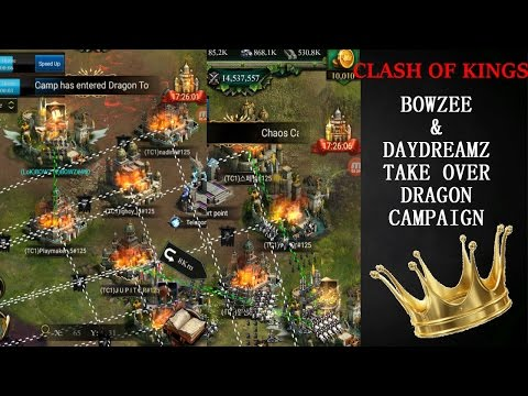 BOWZEE/DAYDREAMZ TAKE OVER CLOSE DRAGON CAMPAIGN!!!(CLASH OF KINGS AWESOME MOMENTS)