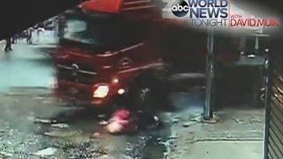 2 Kids Hit By Speeding Truck CAUGHT ON CAMERA