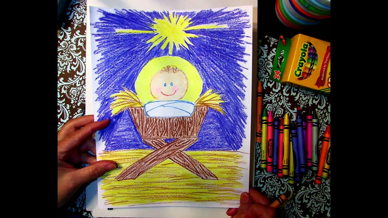 drawing baby jesus in a manger with gammy youtube