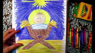 Drawing Baby Jesus in a manger with Gammy