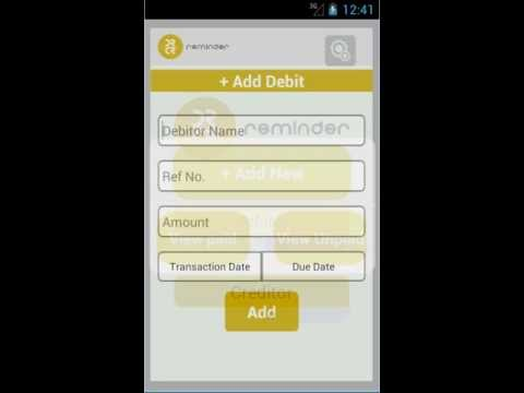 Debit Credit Reminder Android app, keep track of all your money lend or borrowed