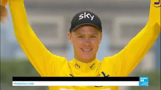 Tour de France  British Team Sky rider Chris Froome wins 4th title,  his toughest victory yet