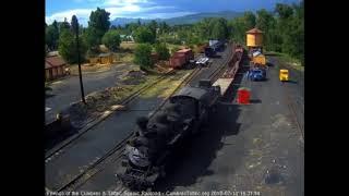 7/11/2018 The Fireman Engineer school train arrives into Chama, NM