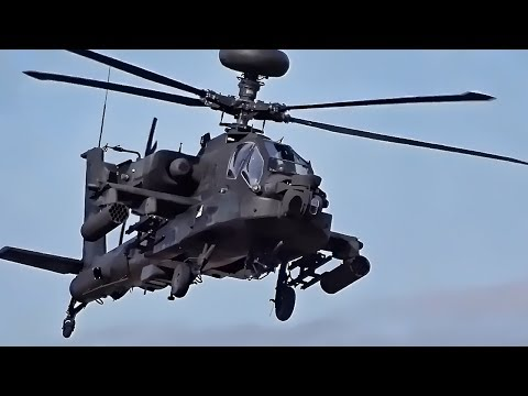 Apache Attack Helicopters Cover Chinook Troop Carriers