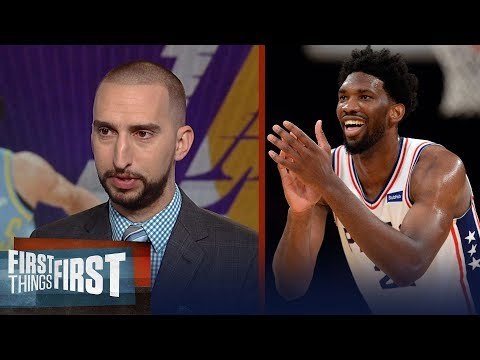 Nick Wright praises Joel Embiid after the 76ers 115-109 win over the Lakers | FIRST THINGS FIRST