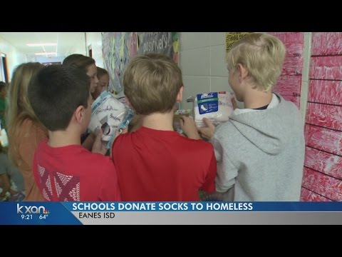 Forest Trail Elementary School students collecting socks for a cause