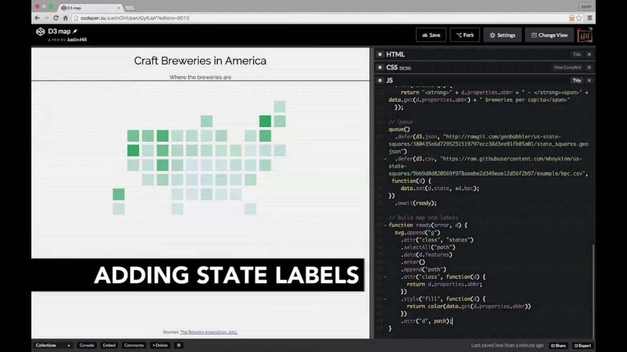 Adding state labels - Building an Interactive D3 map - YouTube