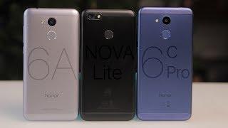 Сравнение Huawei Nova Lite 2017, Honor 6A и 6C Pro