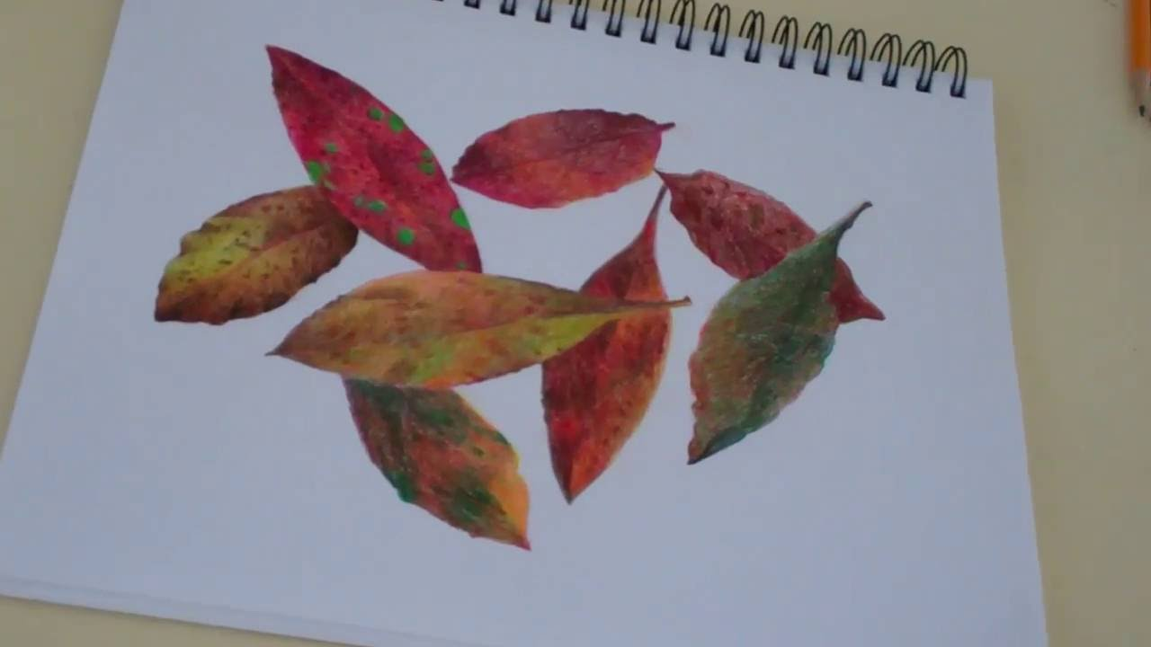 Draw Leaves With Colored Pencils Youtube