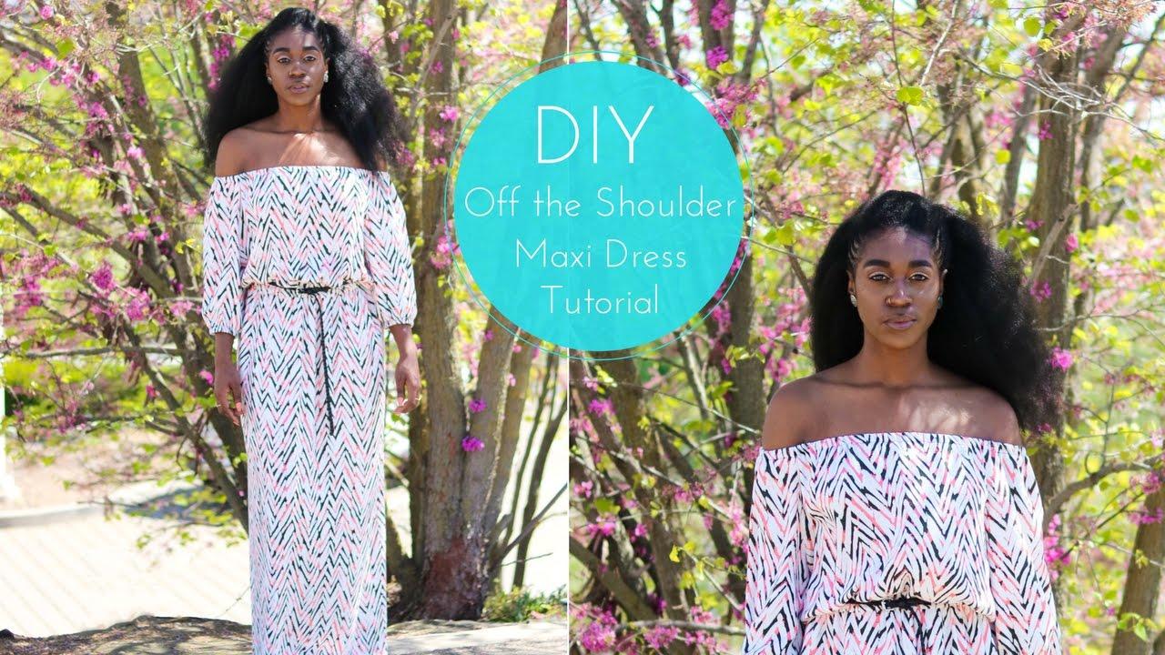 Diy off the shoulder maxi dress tutorial youtube diy off the shoulder maxi dress tutorial jeuxipadfo Images